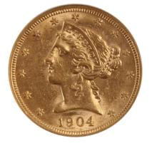 1904 $5 LIBERTY HEAD GOLD COIN MS61
