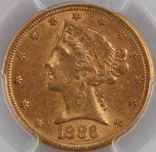 1886 S $5 LIBERTY HEAD GOLD COIN AU 58