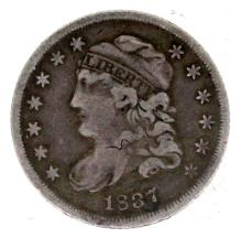 1837 CAPPED BUST SILVER HALF DIME F/VF
