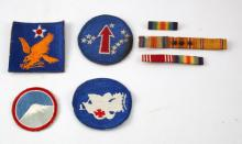 VINTAGE US ARMY PATCH LOT AND RIBBON BAR LOT