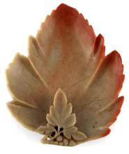 MULTI-COLORED HARDSTONE CARVING OF LEAF RED/GREY