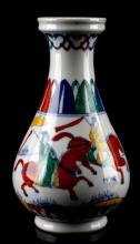 SIGNED FIGURAL POLYCHROME VASE IN GIFT BOX
