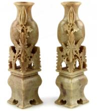 PAIR OF 6'' ASIAN CARVED SOAPSTONE FLORAL VASES