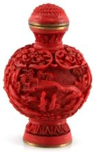 VINTAGE CHINESE CARVED CINNABAR SNUFF BOTTLE 2.5
