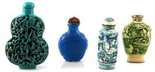 VINTAGE CHINESE SNUFF BOTTLES W FIGURAL CARVINGS