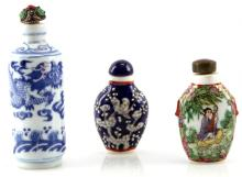 3 HAND PAINTED PORCELAIN CHINESE SNUFF BOTTLES