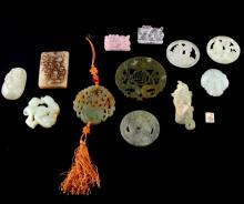 12 PIECE LOT OF CARVED STONE AND PENDANTS