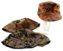 LOT OF WWII & POSTWAR GERMAN HELMET COVERS & CAP