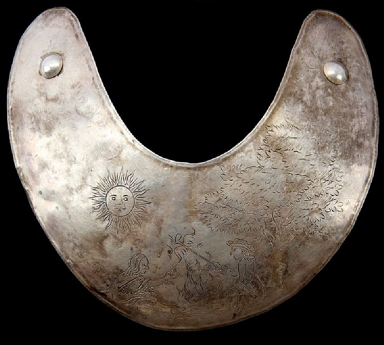 NATIVE AMERICAN TRADE SILVER GORGET PEACE PIPE