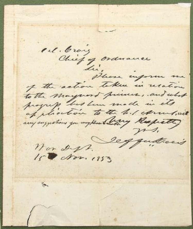 JEFFERSON DAVIS SIGNED WAR DEPT LETTER 1853 W/ COA