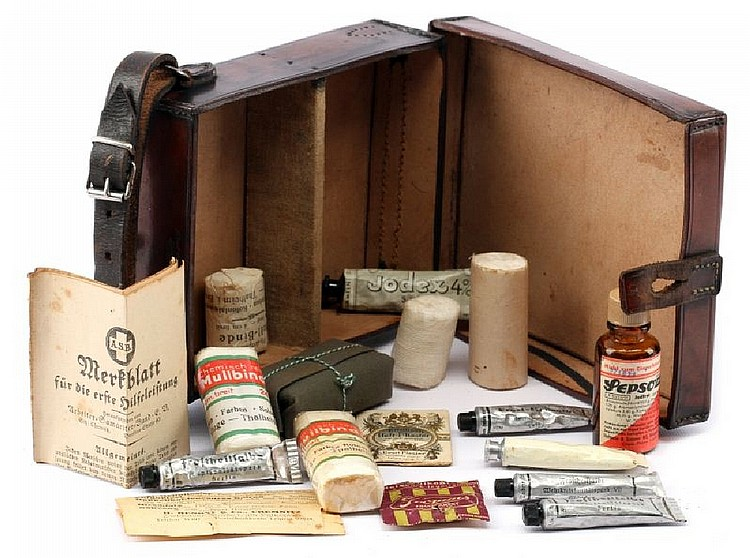 WWII GERMAN LEATHER FIRST AID KIT WITH CONTENTS