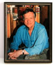 HUGH HEFNER SIGNED PHOTO PLAYBOY STAMPED COA