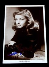 1950'S BRITISH POSTCARD SIGNED BY LAUREN BACALL