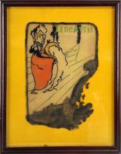 JANE AVRIL ENGRAVED PAINTING ON GLASS LAUTREC