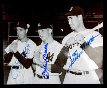 AUTOGRAPHED PHOTO OF DIMAGGIO MANTLE TED WILLIAMS