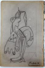 ATTRIBUTED TO SIGNED PICASSO PENCIL SKETCH DRAWING