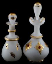 VICTORIAN HAND PAINTED BOHEMIAN GLASS DECANTERS