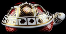 ROYAL CROWN DERBY GOLD STOPPER TURTLE PAPERWEIGHT
