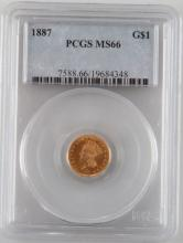 1887 $1.00 GOLD PRINCESS COIN STUNNING PCGS MS-64