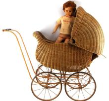 ANTIQUE WICKER BABY CARRIAGE STROLLER W DOLL