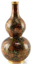 20TH C. FLORAL GOURD-SHAPED CLOISONNE VESSEL