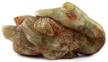 OLD CHINESE JADE CARVING OF A SITTING GOOSE