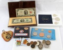 MIXED US AND FOREIGN COIN COLLECTIBLE PIN LOT