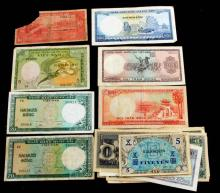 17 FOREIGN CURRENCY NOTES JAPAN VIETNAM PARAGUAY +