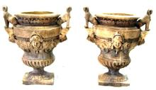 PAIR OF CONCRETE  CLASSICAL GARDEN URN PLANTERS