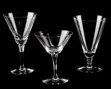 THREE VINTAGE CRYSTAL WATER GOBLETS