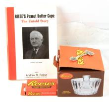 REESE'S CHOCOLATE MEMORABILIA  AND SIGNED BOOK