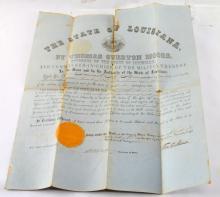 US CIVIL WAR 1861 LOUISIANA MILITIA COMMISSION