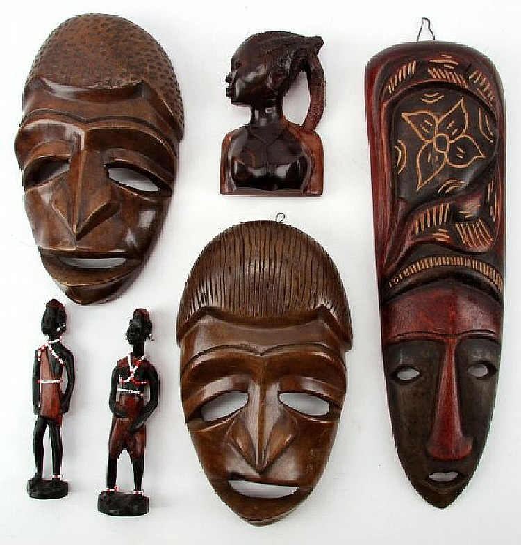 6 HAND-CARVED AFRICAN MASKS AND FIGURES