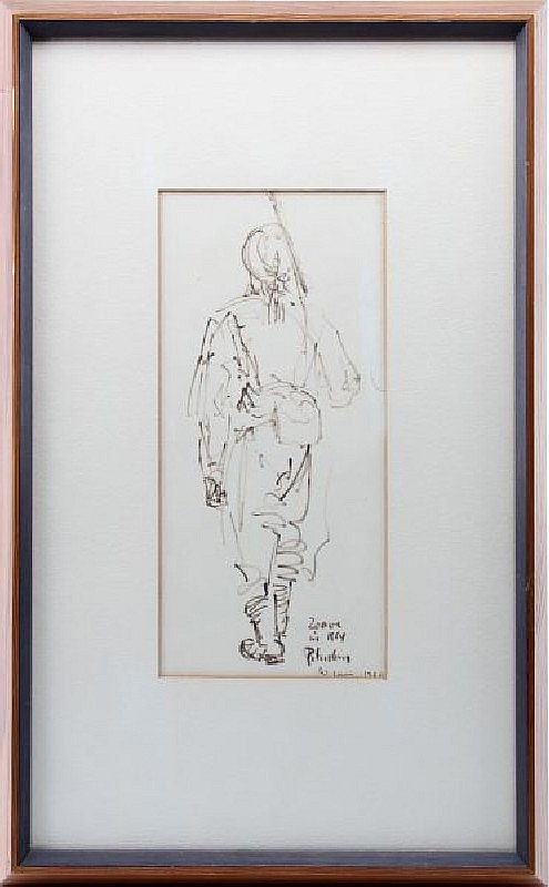 WILLIAM LEWIS ORIGINAL DRAWING ZOUAVE 1960