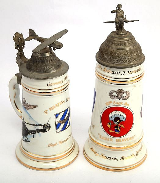 2 UNITED STATES AIRFORCE UNIT COMMEMORATIVE STEINS