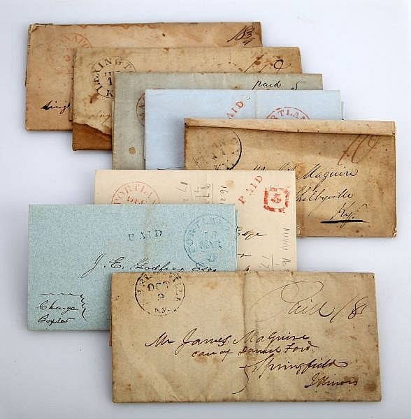 STAMPLESS LETTER LOT OF 8 1840 ILLINOIS KENTUCKY