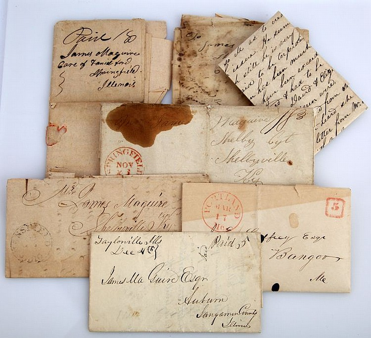 6 STAMPLESS LETTERS 1840 POSTMARK KY ME IL