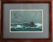 JOHN FICKLEN ORIGINAL PAINTING SUBMARINE 19 X 15