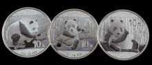 2014 2015 2016 SILVER PANDA 1 OZ COIN LOT