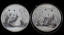 2012 & 2015 SILVER PANDA 1 OZ COIN LOT PROOF LIKE