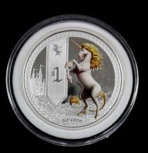 2013 TUVALU MYTHICAL CREATURES UNICORN 1 OZ COIN
