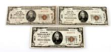 LOT OF 3 US NATIONAL CURRENCY NOTES