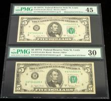 LOT OF 2 FEDERAL RESERVE NOTES W MISMATCHED SN