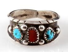 JERRY COWBOY NAVAJO STERLING SILVER RING SZ 11.5