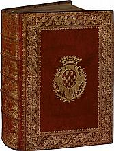 FERMES. Ordonnances de Louis XIV. Paris, Imprimerie Royale, 1750-1751. 6 pièces en 1 fort vol. in-4, maroquin vieux-rouge, dos à nerfs richement cloisonné et fleuronné, les plats sont ornés de la très grande dentelle du Louvre accompagnée de deux