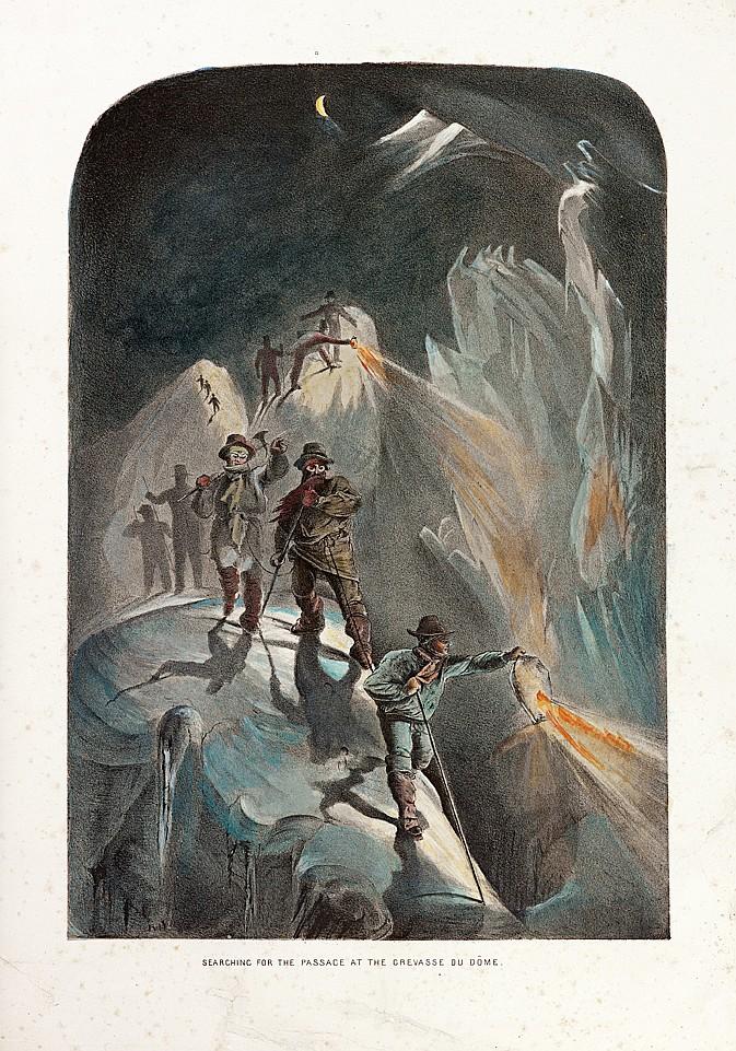 BROWNE (James D. Howe). Ten Scenes in the last Ascent of Mont Blanc, including five Views from the Summit. Londres, Thomas MacLean, février 1853. Grand in-folio, en feuilles, portefeuille à rabats en demi-basane fauve, titre lithographié repris sur