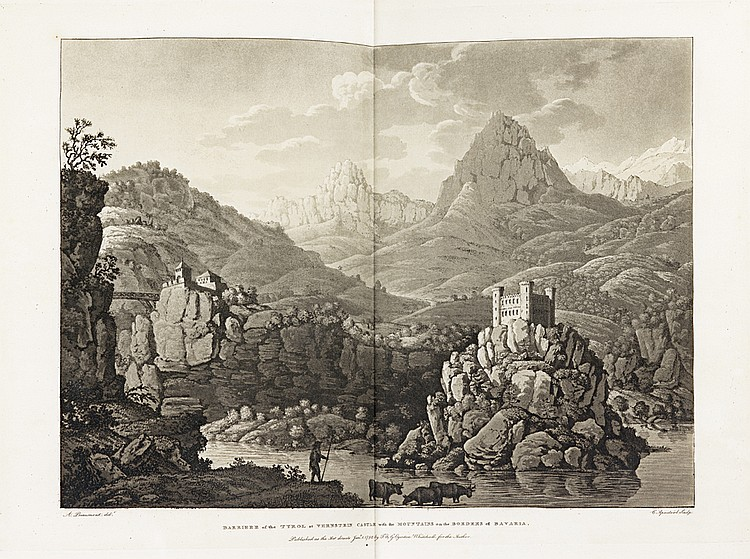 BEAUMONT (Jean-Francois-Albanis). Travels through the Rhaetian Alps, in the year 1786, from Italy to Germany, through Tyrol. Londres, pour l'Auteur, Clarke, 1792. - Travels through the Maritime Alps from Italy to Lyons across the Col de Tende, by the
