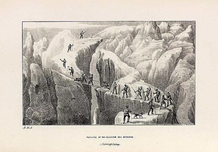 ATKINS (Martin Henry). Ascent to the summit of Mont Blanc. On the 22nd and 23rd of August, 1837. Londres, Calkin and Budd, 1838. In-8, toile bordeaux, filets et rinceaux à froid en encadrement, titre doré sur le premier plat (Reliure de l'éditeur).