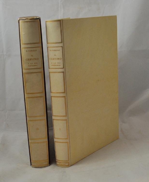 CABALLO (Ernesto). Il Cervino e la sua tavolozza. Alpigiano, Edizioni Tallone, 1963. 2 volumes in-4, cartonnage simili-vélin crème, dos lisse orné, tête dorée, non rogné, étui (Reliure de l'éditeur).