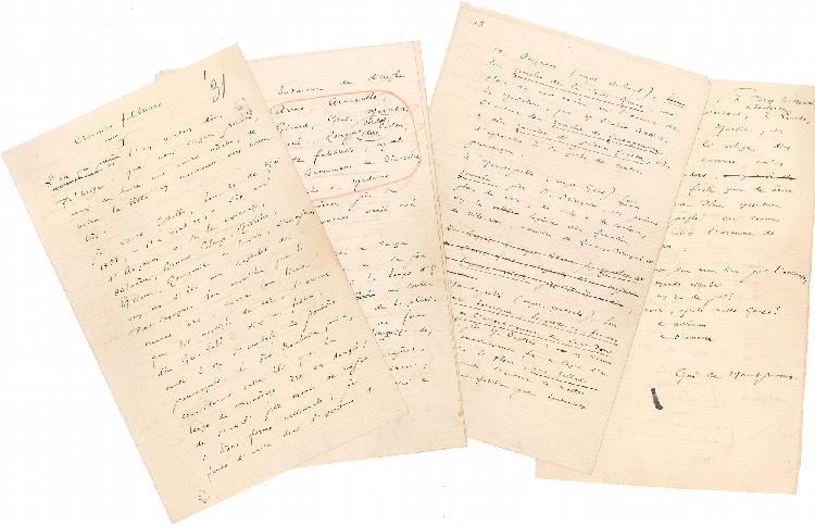 Frédéric MISTRAL. 26 manuscrits autographes, la plupart signés de pseudonymes, 1873-1874 ; 95 pages in-8, avec ratures et corrections ; en provençal.